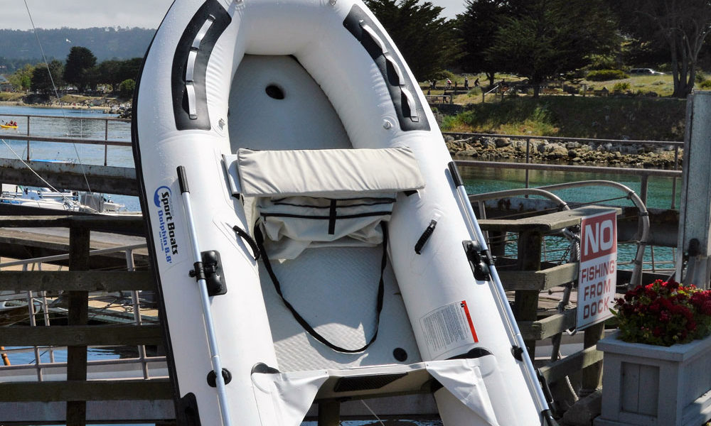 white inflatable sport boat