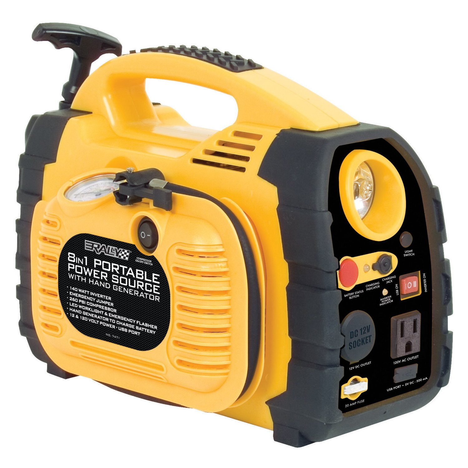 "Portable ""8 in 1"" Power Source and Jumpstart Unit with Hand"